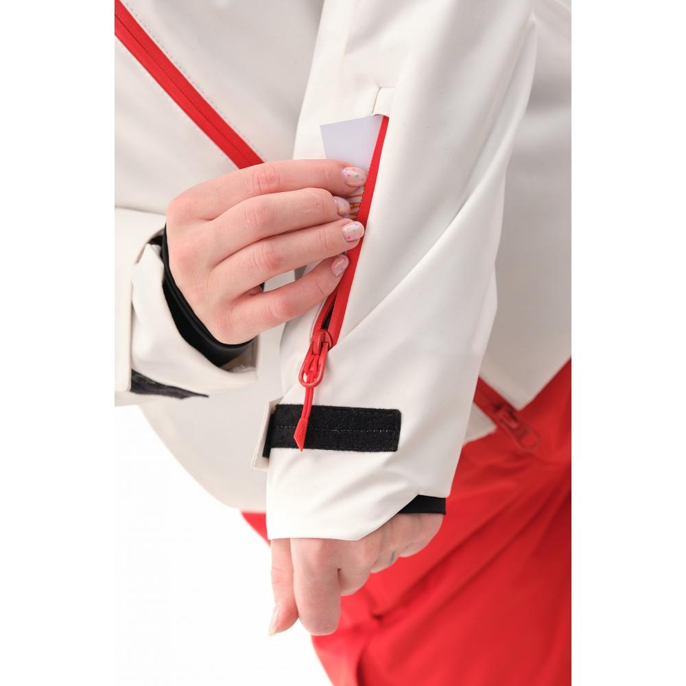 Куртка горнолыжная утепленная Gravity Premium WOMAN Gray-Red Fluo